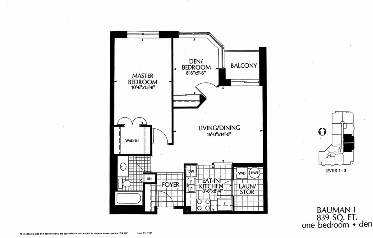 This 839 Sq Ft Suite On The 4th Floor Features A Large Master Bedroom Den With Wrap Around Windows Balcony Living Dining Room Kitchen And Laundry